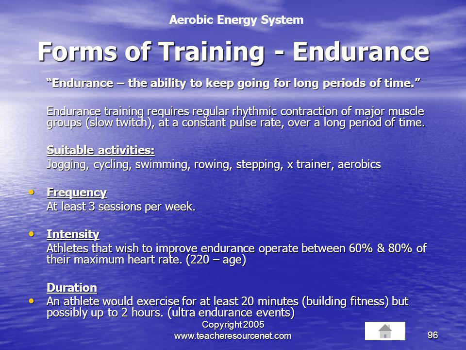 Forms of Training - Endurance