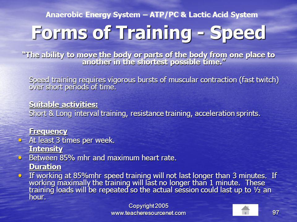 Forms of Training - Speed