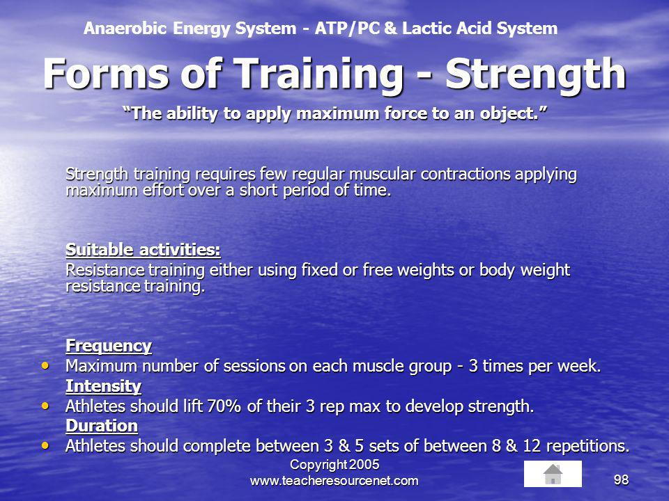 Forms of Training - Strength