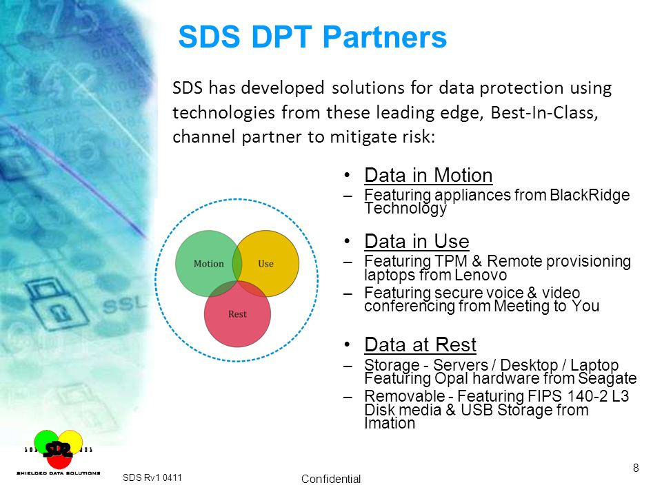 SDS DPT Partners SDS has developed solutions for data protection using