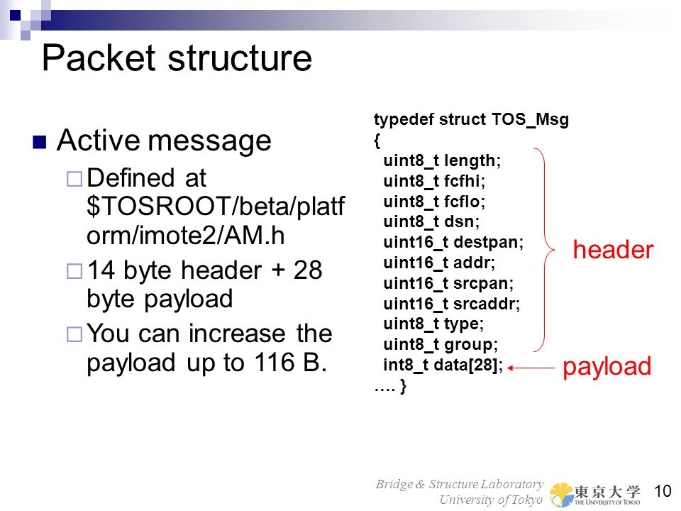 Packet structure Active message