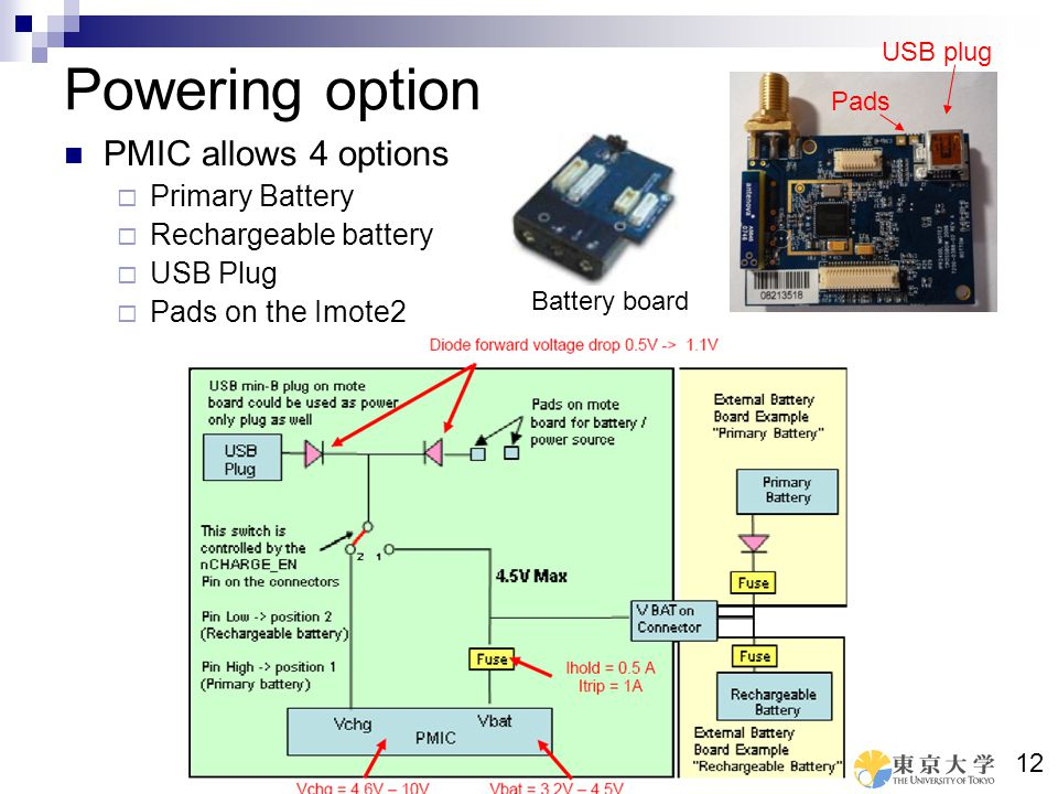 Powering option PMIC allows 4 options Primary Battery