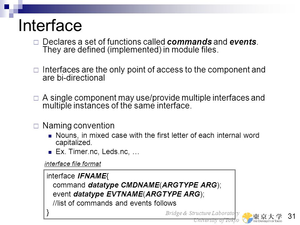 Interface Declares a set of functions called commands and events. They are defined (implemented) in module files.