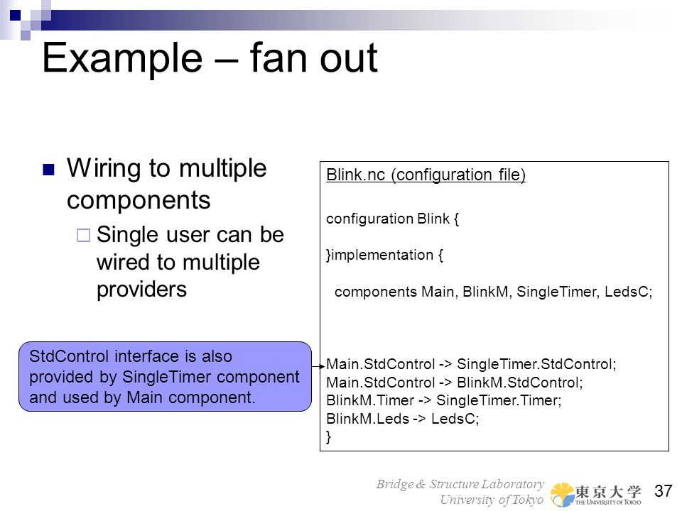 Example – fan out Wiring to multiple components
