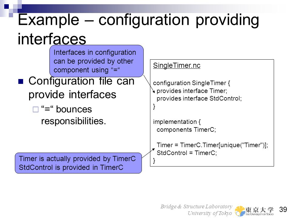Example – configuration providing interfaces