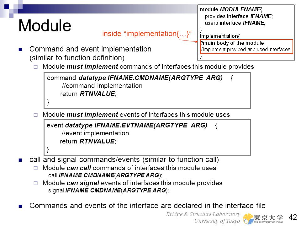 Module inside implementation{…} Command and event implementation