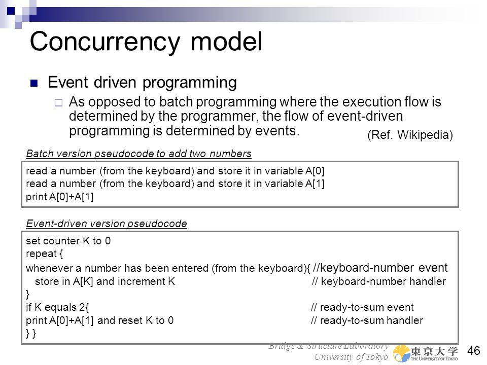 Concurrency model Event driven programming