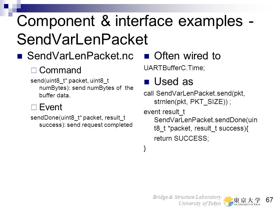 Component & interface examples - SendVarLenPacket