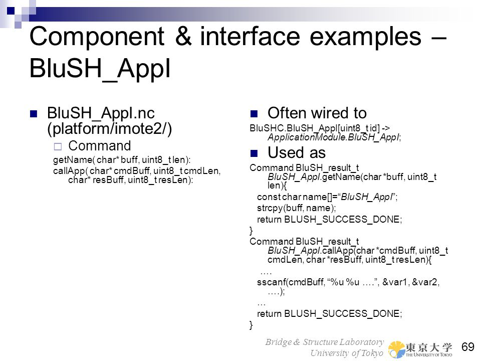 Component & interface examples – BluSH_AppI