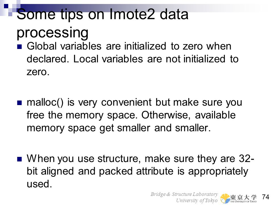 Some tips on Imote2 data processing