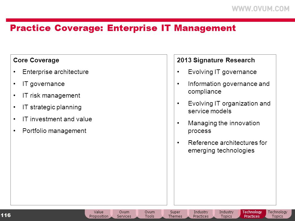 Practice Coverage: Enterprise IT Management