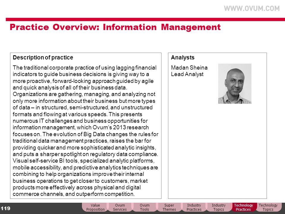 Practice Overview: Information Management