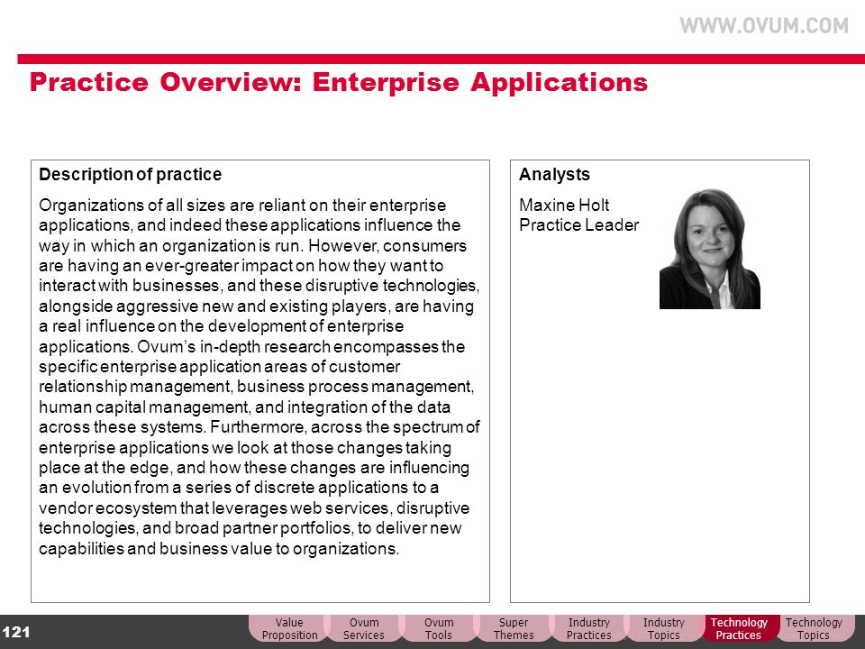 Practice Overview: Enterprise Applications
