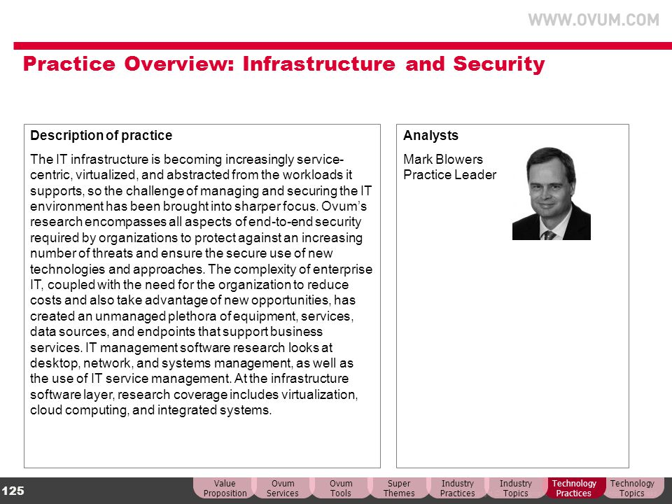Practice Overview: Infrastructure and Security