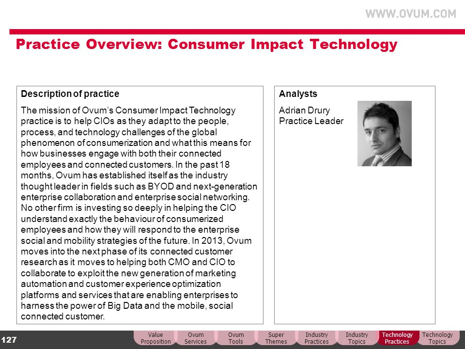 Practice Overview: Consumer Impact Technology
