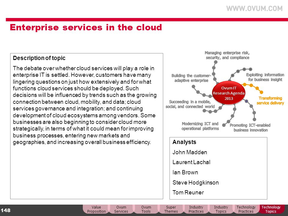 Enterprise services in the cloud