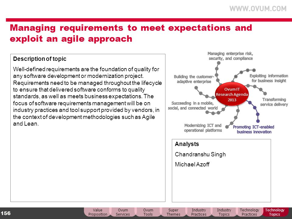 Managing requirements to meet expectations and exploit an agile approach