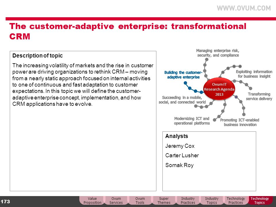 The customer-adaptive enterprise: transformational CRM