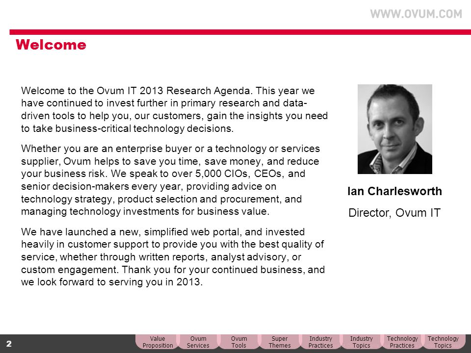 Welcome Ian Charlesworth Director, Ovum IT