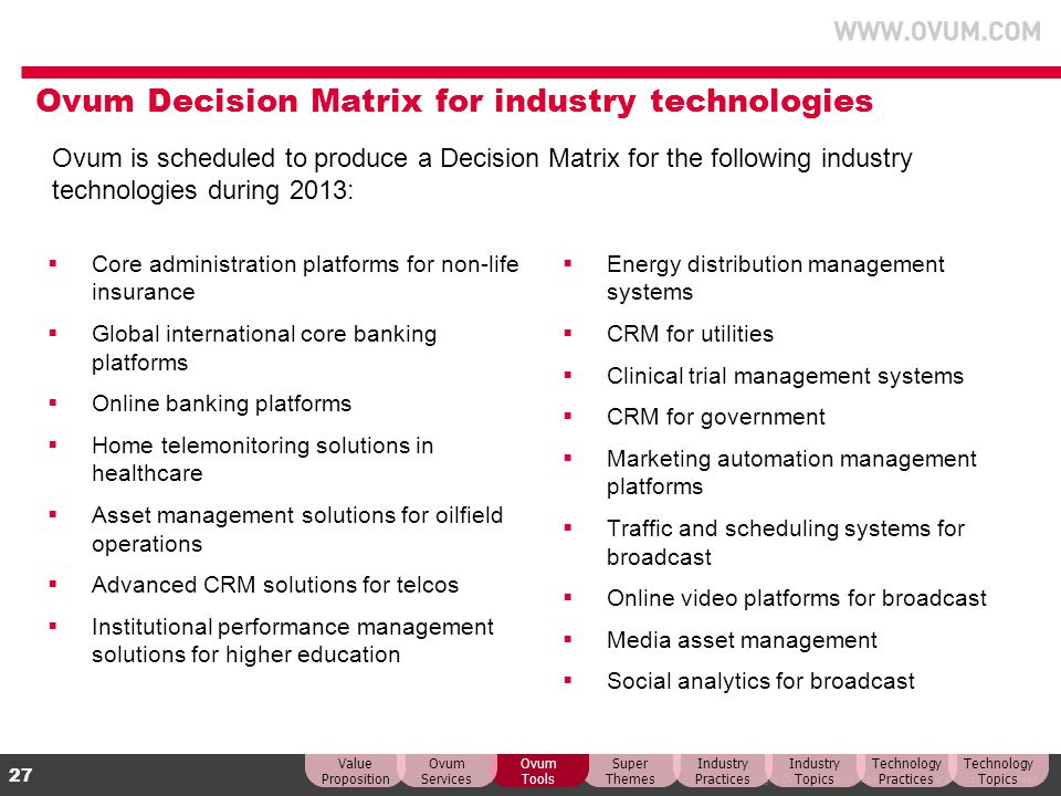 Ovum Decision Matrix for industry technologies