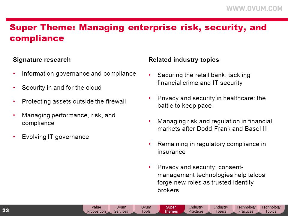 Super Theme: Managing enterprise risk, security, and compliance