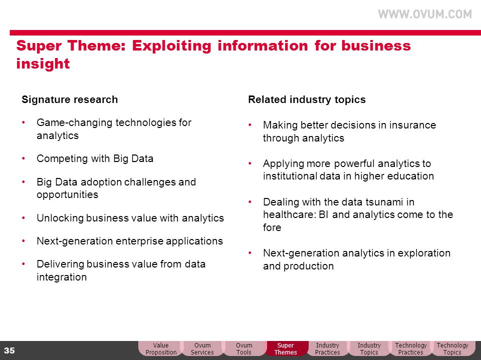 Super Theme: Exploiting information for business insight