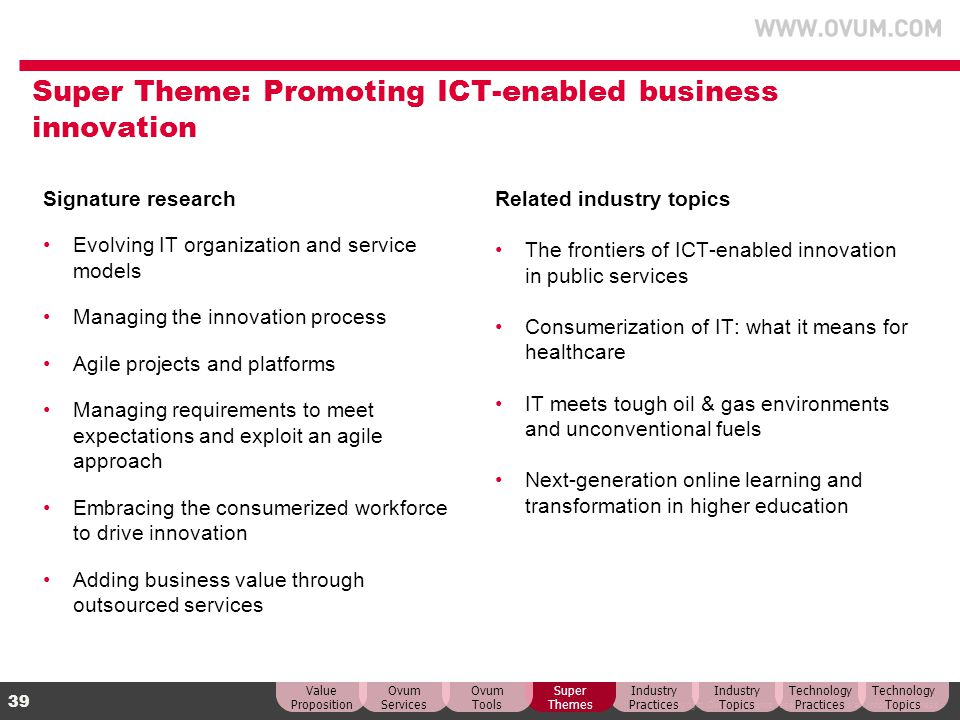 Super Theme: Promoting ICT-enabled business innovation