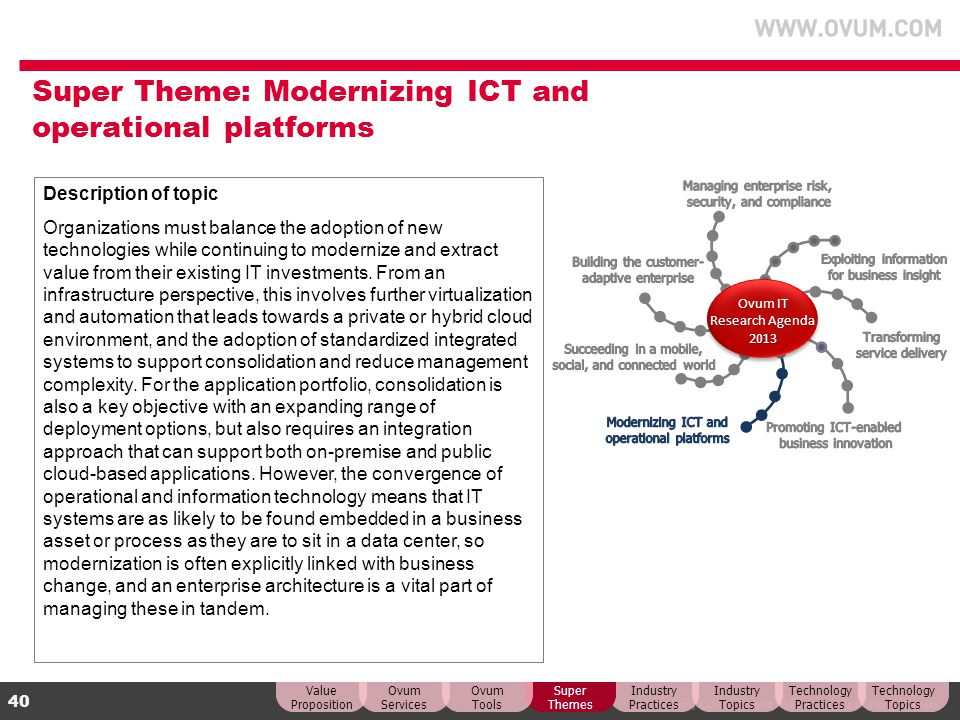 Super Theme: Modernizing ICT and operational platforms