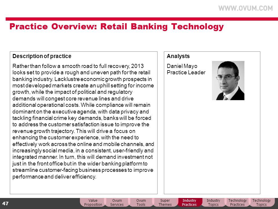 Practice Overview: Retail Banking Technology