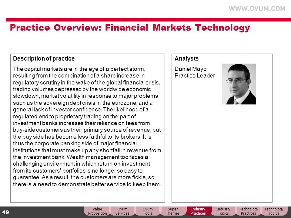 Practice Overview: Financial Markets Technology