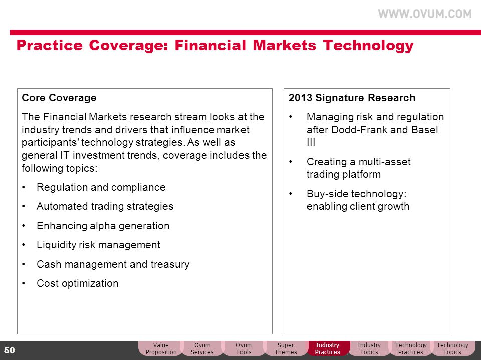 Practice Coverage: Financial Markets Technology