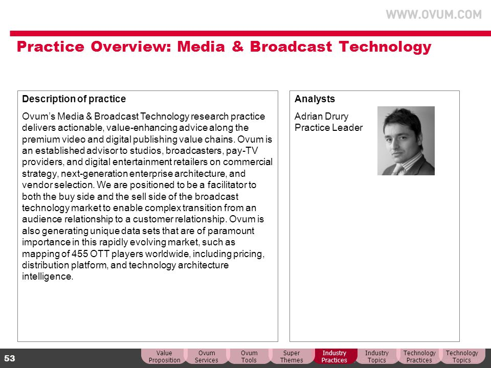 Practice Overview: Media & Broadcast Technology