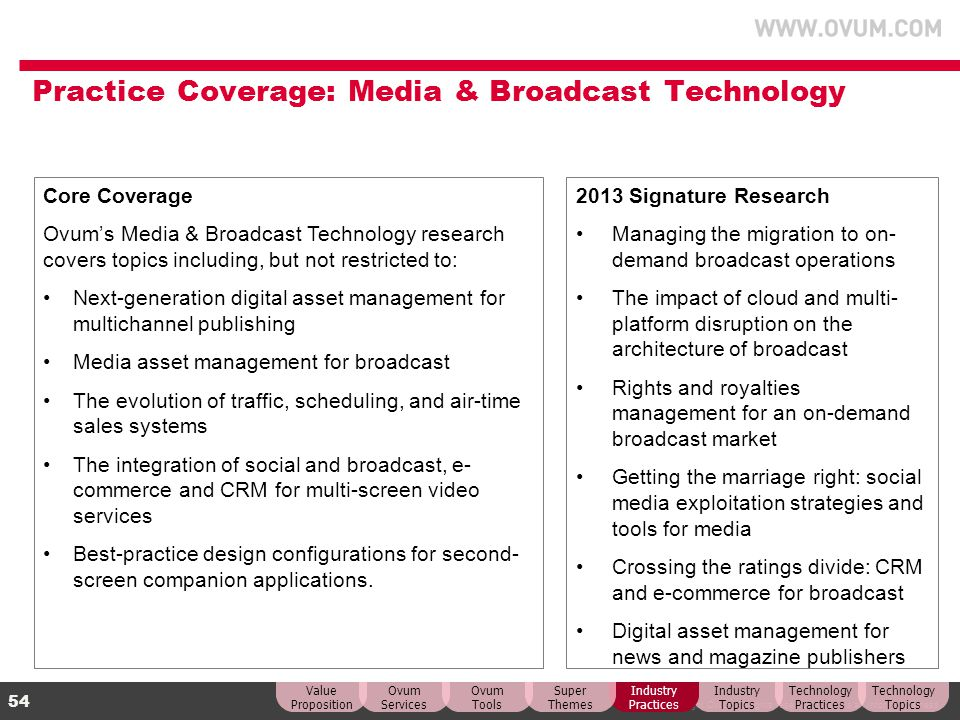 Practice Coverage: Media & Broadcast Technology