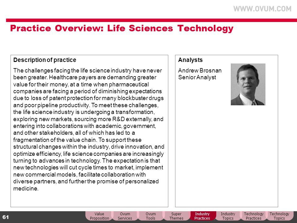 Practice Overview: Life Sciences Technology