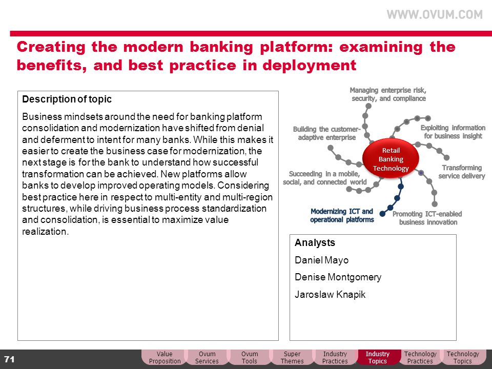 Creating the modern banking platform: examining the benefits, and best practice in deployment