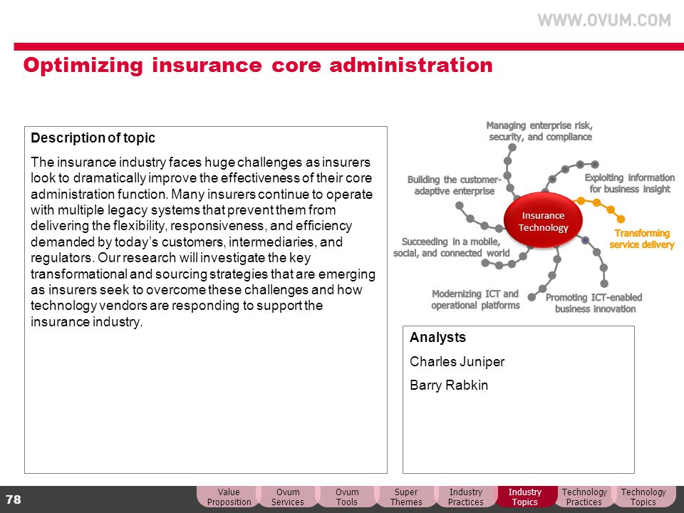 Optimizing insurance core administration