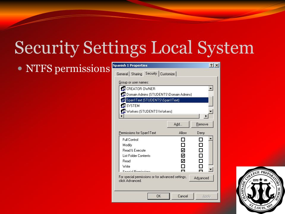 Security Settings Local System