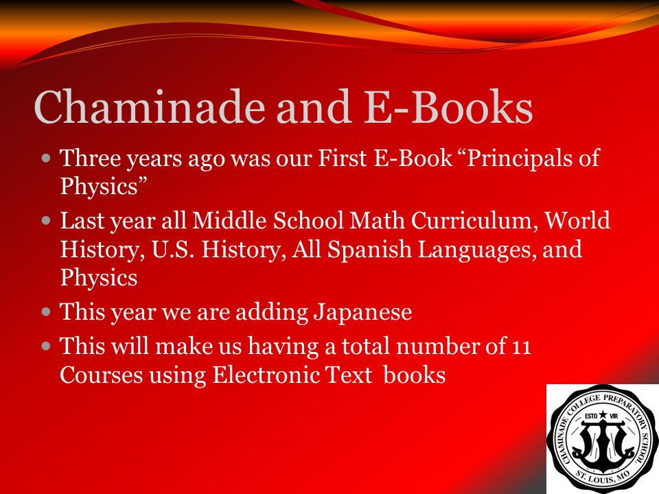 Chaminade and E-Books Three years ago was our First E-Book Principals of Physics