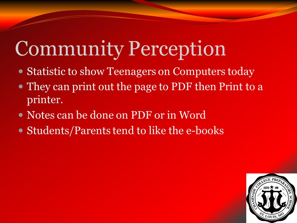 Community Perception Statistic to show Teenagers on Computers today