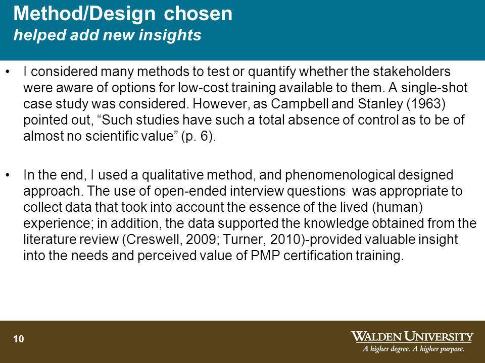 Method/Design chosen helped add new insights