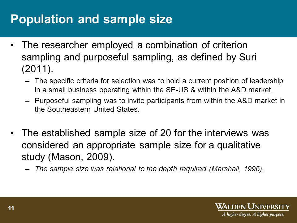 Population and sample size
