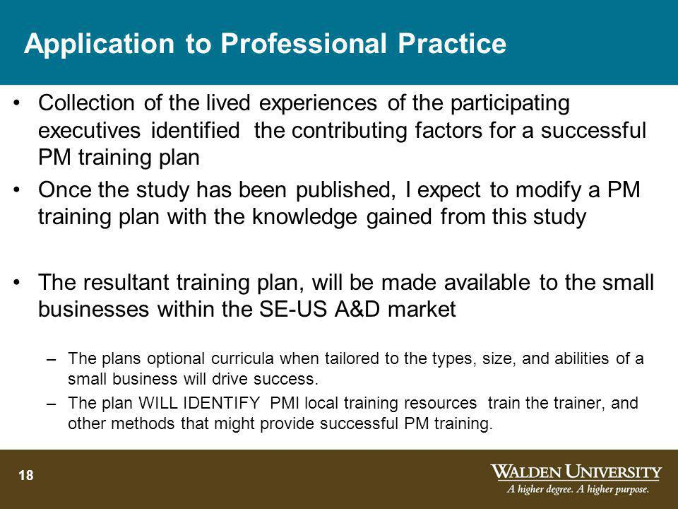 Application to Professional Practice