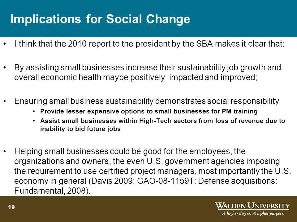 Implications for Social Change