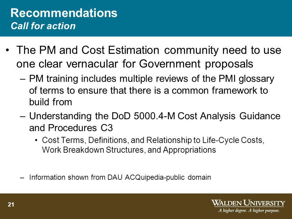 Recommendations Call for action