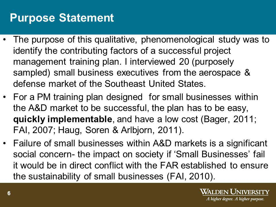 Training Project Managers in Small Aerospace Businesses to Increase Sustainability Dr. John C. Leavitt DBA-PMP-PgMP