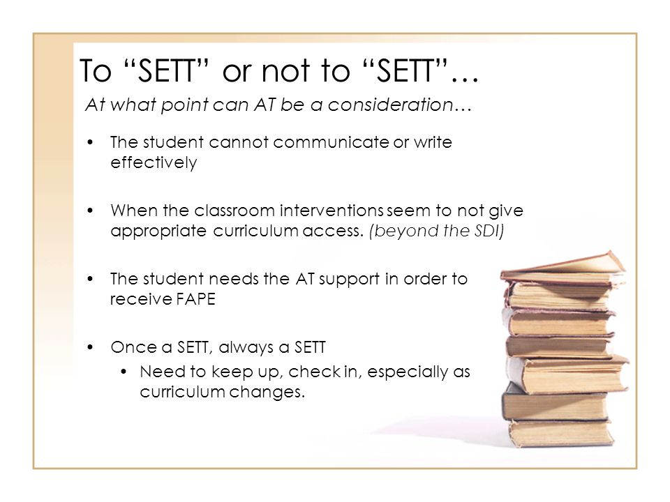 To SETT or not to SETT …