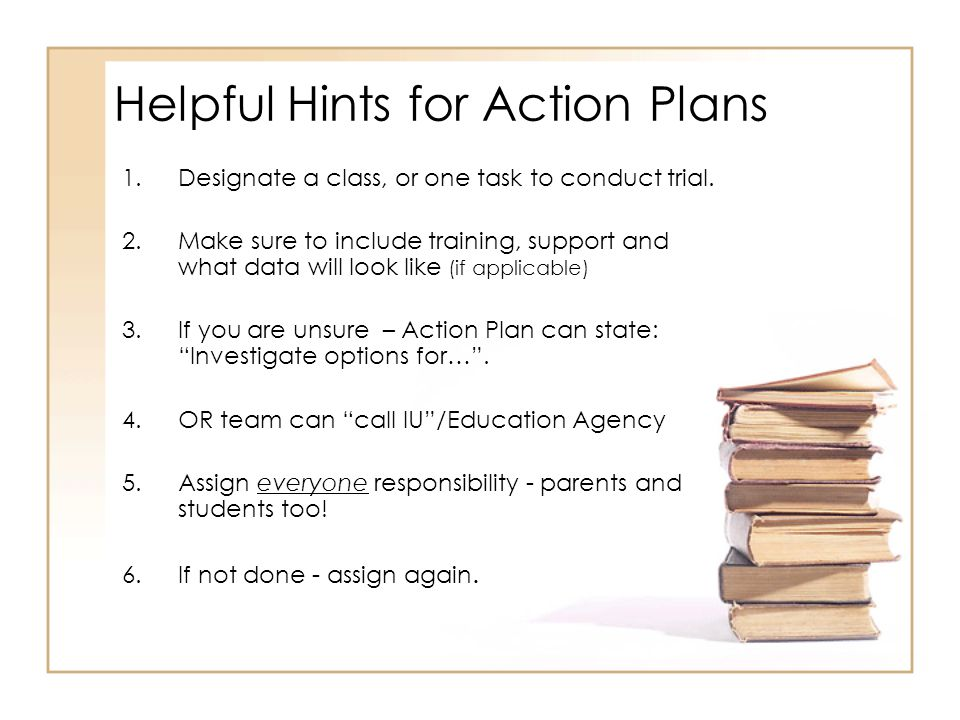 Helpful Hints for Action Plans