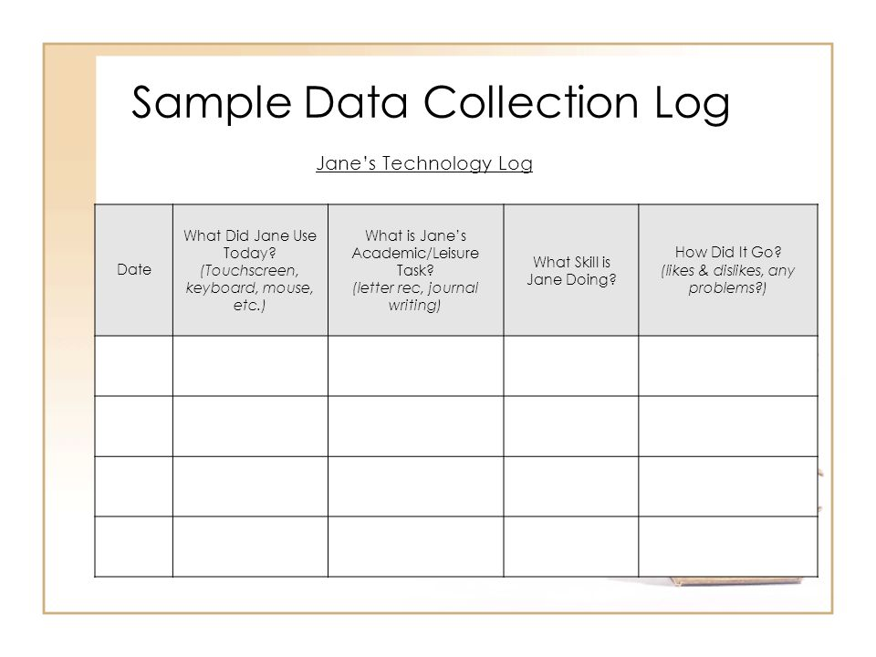 Sample Data Collection Log
