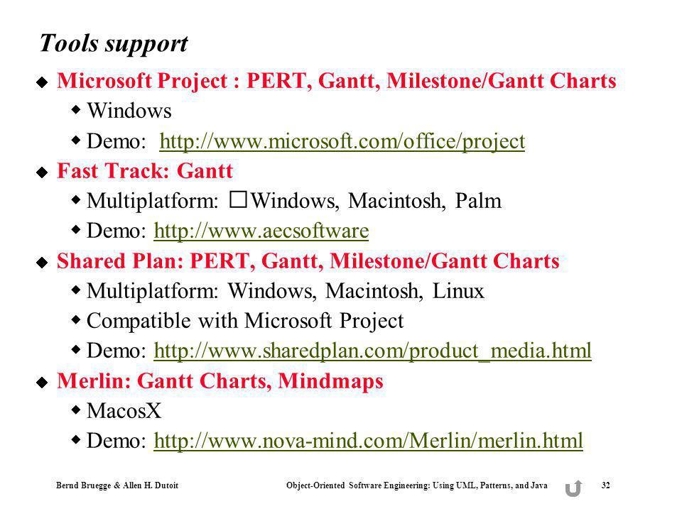 Tools support Microsoft Project : PERT, Gantt, Milestone/Gantt Charts