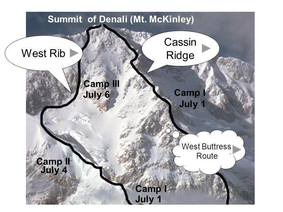 Cassin Ridge West Rib Summit of Denali (Mt. McKinley) Camp III Camp I